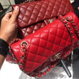 Chanel Classic Flap Bags in Caviar Red and Burgundy and available in Small and Medium size