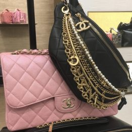 Chanel Jumbo Flap Bag in Pink Iridescent and Seasonal Chained Beltbag