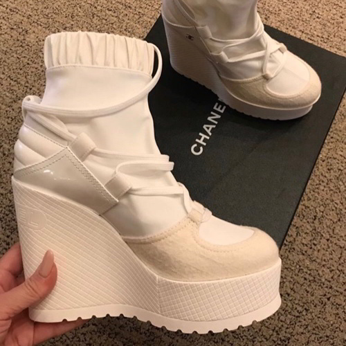 Chanel Lace Up in White