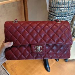 Chanel Medium Classic Flap Bag in Burgundy Caviar with Light Gold Hardware