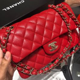 Chanel Small Classic Flap Bag in Red Caviar with Light Gold Hardware