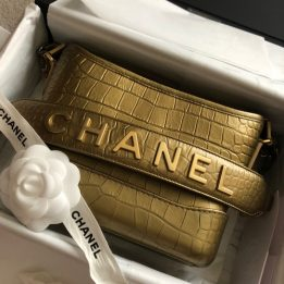 Chanel Small Gabrielle Bag in Croc Embossed in Gold
