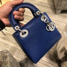 Dior Mini Lady Dior in Blue Lizard with Crystals