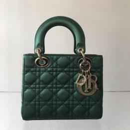 Dior Small Lady Dior Bag in Green Satin in light gold tone metal and rhinestones