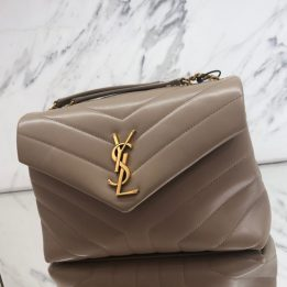 Saint Laurent Small Loulou in Dust Grey Gold