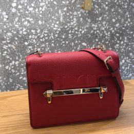 Valentino Uptown Leather Shoulder Bag in Red