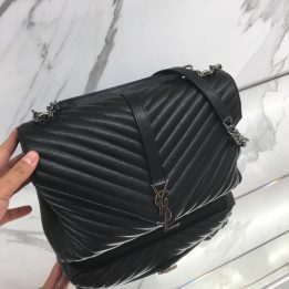 YSL Large College Monogram in Black with RHW