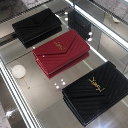 YSL Large WOC in Black GHW and Black BHW and Red GHW