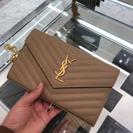 YSL Large WOC in Chene Taupe GHW
