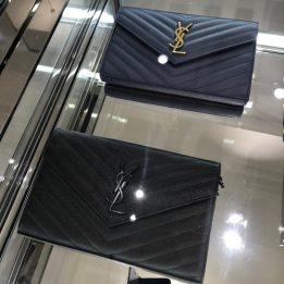 YSL Large WOC in Navy GHW and Black with BHW