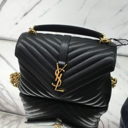 YSL Medium College Monogram Black with GHW